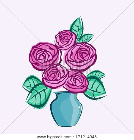 Flowers composition. Retro style clip art with bouquet of pink roses in blue vase. Decorative design element. Vector illustration.