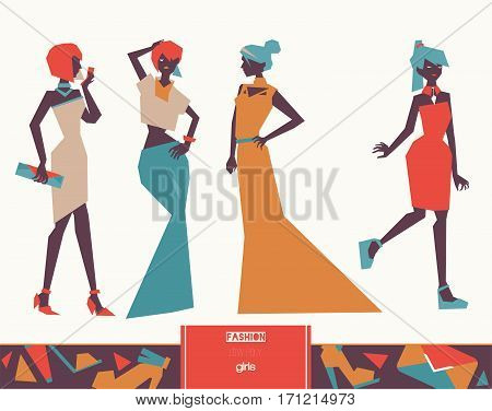 Vector set with creative low poly fashion girls in evening dresses in geometric graphic style isolated on background. Stylish illustration with long and cocktail dresses. Women in various poses.