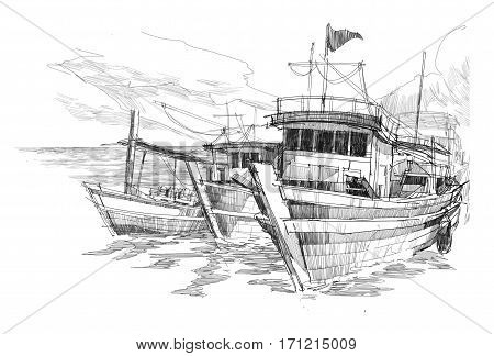 rough sketch of fishing boats in a harbor