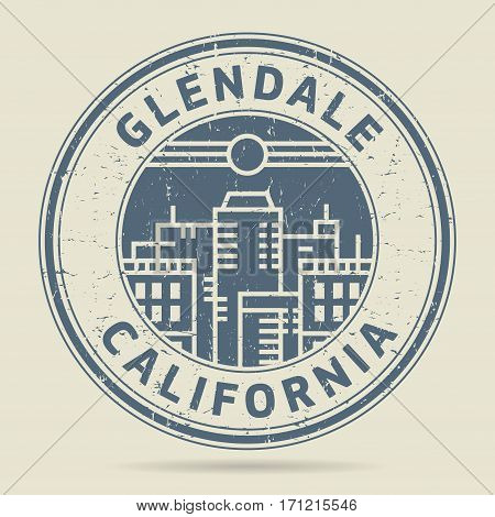 Grunge rubber stamp or label with text Glendale California written inside vector illustration