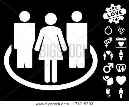 Society icon with bonus decoration pictograph collection. Vector illustration style is flat iconic white symbols on black background.