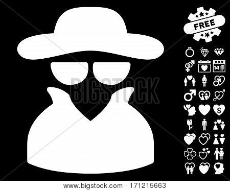 Spy icon with bonus love pictograph collection. Vector illustration style is flat iconic white symbols on black background.