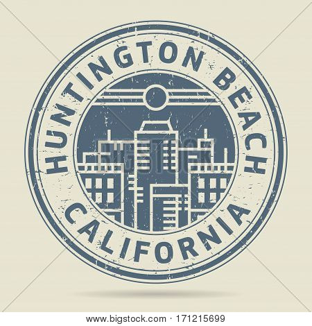 Grunge rubber stamp or label with text Huntington Beach California written inside vector illustration