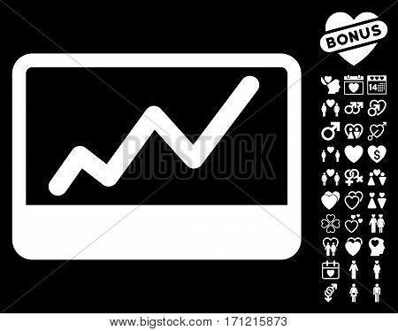 Stock Market icon with bonus romantic images. Vector illustration style is flat iconic white symbols on black background.