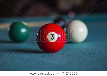 Billiard balls on a pool table Three ball.