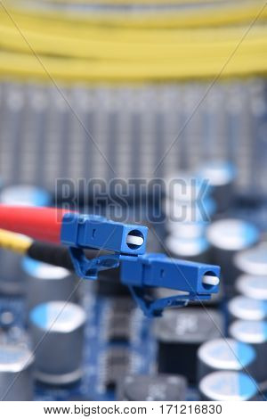 Information Technology Computer Network, Telecommunication Fiber Cable on Electronic Board