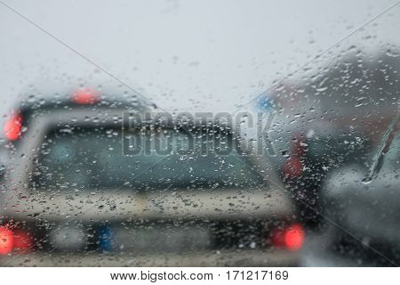 Bad Weather Driving On A Highway - Traffic Jam