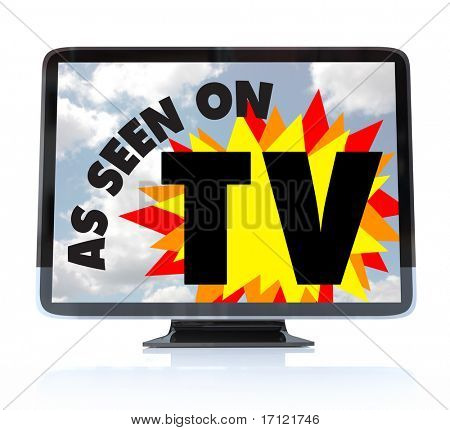 A HDTV television with the words As Seen on TV on the screen