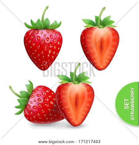 Realistic strawberry icons set, dessert fruit template for advertising vector illustration