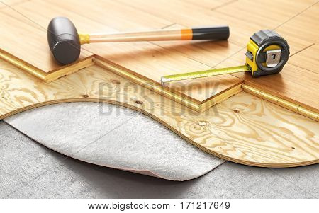 Stack of parquet flooring. Timberwork and woodwork industry concept: stacks of wooden timber planks on the wooden floor. 3d illustration