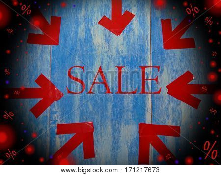 beautiful red highlights on a blue background with a black border and the words sale, %