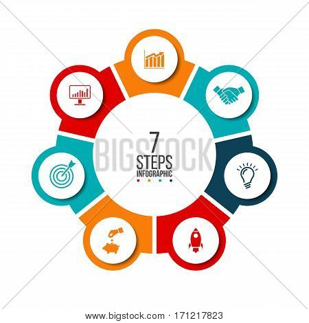 Vector circle infographic. Template for cycle diagram, graph, presentation and round chart. Business concept with 7 options, parts, steps or processes. Data visualization.