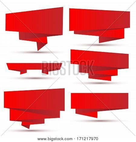 set of bright red ribbons with shadows. Vector design elements in retro style. Eps10