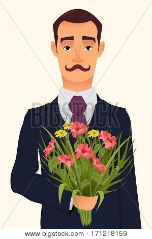 Handsome gentleman in suit with mustache holding bouquet of wildflowers going on a date with his beloved. Vector illustration usable as greeting card for Valentines day 8 March poster print etc.