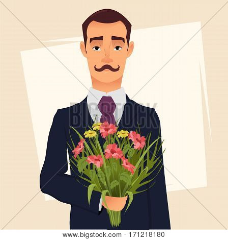Handsome gentleman in suit with mustache holding bouquet of wildflowers going on a date with his beloved. Vector illustration for Valentines day 8 March poster print etc.