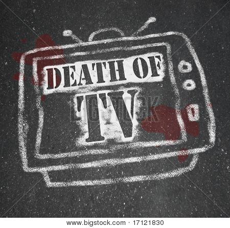 A chalk outline of a dead television, a victim of the war of new media technologies (internet, social networking, video games) vs old-school entertainment choices