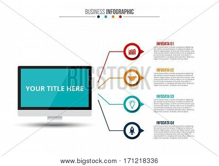 Vector monitor infographic. Template for diagram, graph, presentation and chart. Business concept with 4 options, parts, steps or processes. Data visualization.