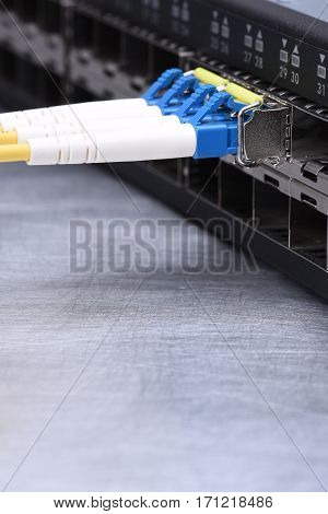Internet Technology Devices Fiber Optic Network Cables in Switch