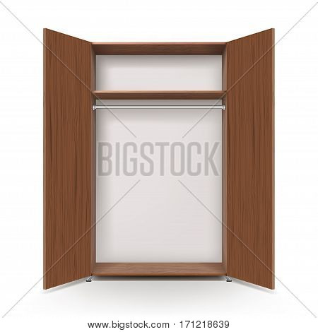 Empty open wooden wardrobe isolated on the white background. 3D
