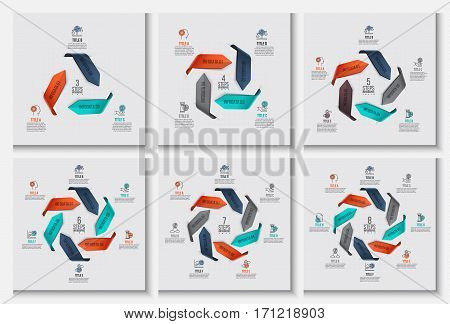 Vector arrows infographic. Template for cycle diagram, graph, presentation and round chart. Business concept with options, parts, steps or processes. Data visualization.