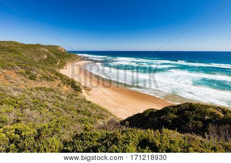 The view from Castle Cove Lookout along the Great Ocean Rd near Apollo Bay in Victoria, Australia