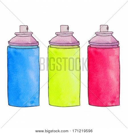 Three colorful aerosol cans. Spray paint cans. Graffiti paint bottle. Watercolor hand drawn illustration. Isolated on white background.