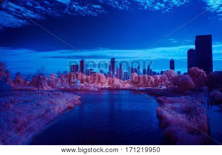 Chicago skyline park infrared color swap under a clear blue sky