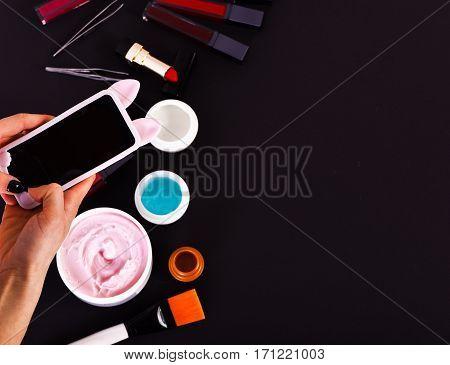 Various Cosmetics: Cream, Gel, Lipsticks, Brushes And Tweezers