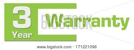 Three year warranty text written over green background.
