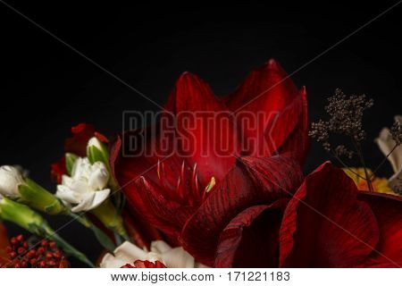 Beautiful bouquet closeup, composition of red flowers and leaves. Florist art background, copy space on black