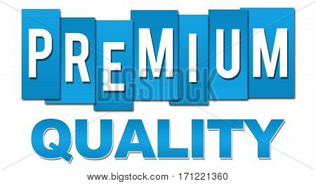 Premium quality text written over blue background.