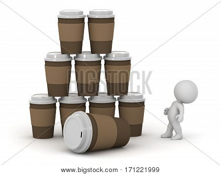 3D character looking up at a stack of large take-away coffee cups. Isolated on white background.