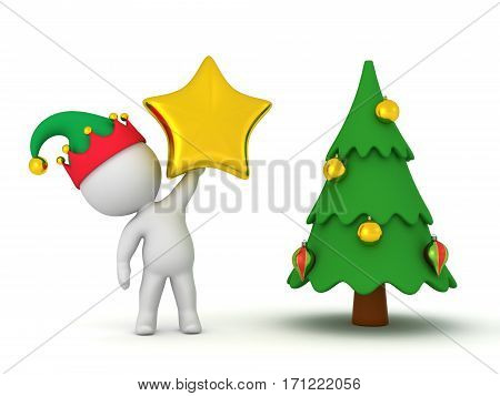 3D character holding up a gold star next to a small Christmas tree. Isolated on white background.