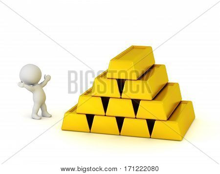 3D character cheering next to stack of large gold bars. Isolated on white background.