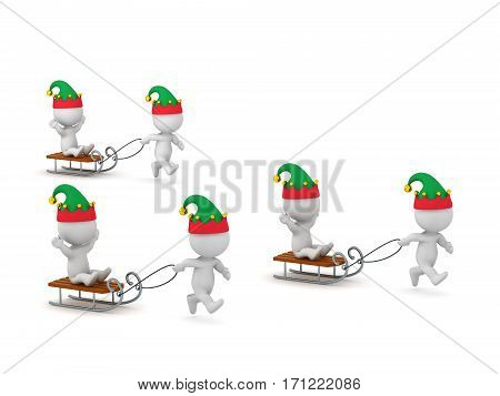 3D characters in elf hats riding sleds. Isolated on white background.