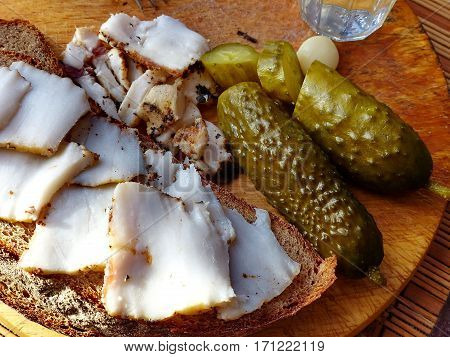 Appetizer - Homemade lard with condiments. Fresh bread, a glass of vodka, pickled cucumber. Closeup. Natural food. Traditional Dishes of Russian Cuisine