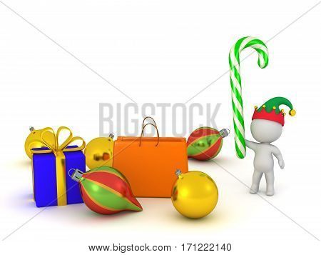 3D character with Christmas decorations and gifts. Isolated on white background.