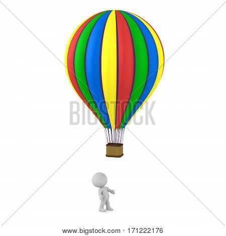 3D character looking up at a colorful hot air balloon. Isolated on white background.