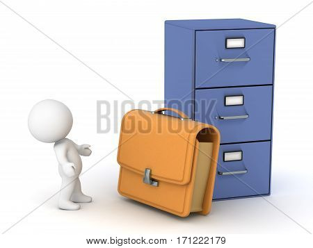 3D character with a briefcase and a large archiving cabinet. Isolated on white background.