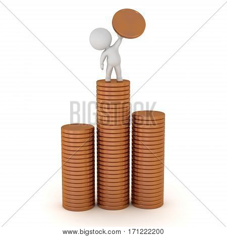 3D character standing on a stack of bronze coins. Isolated on white background.
