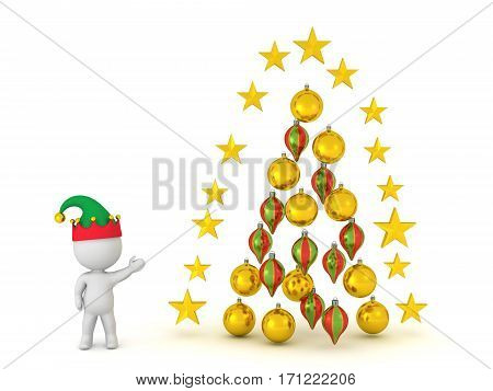 3D character with elf hat and decorative christmas ornaments. Isolated on white background.