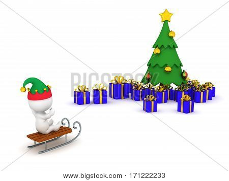 3D character riding sled toward a Christmas tree with gifts. Isolated on white background.