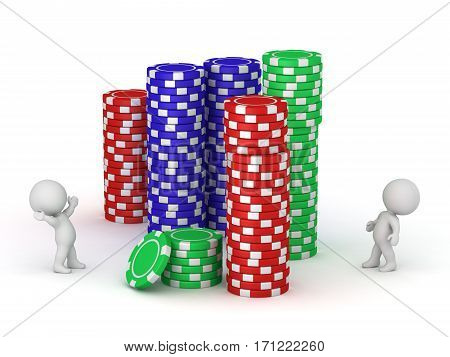 3D characters and stacks of large poker chips. Isolated on white background.