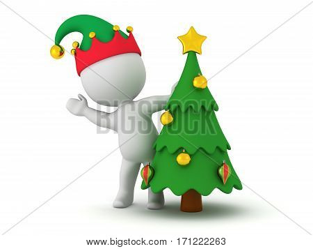 3D character with elf hat and small Christmas tree. Isolated on white background.