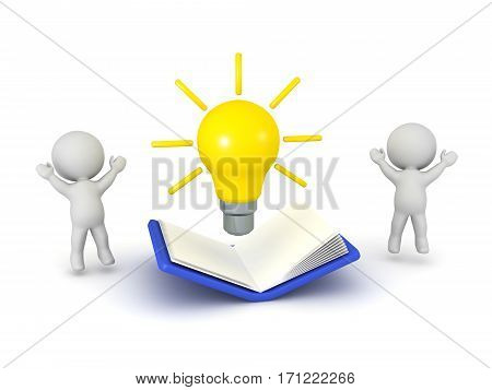 3D characters with idea light bulb and large open book. Isolated on white background.