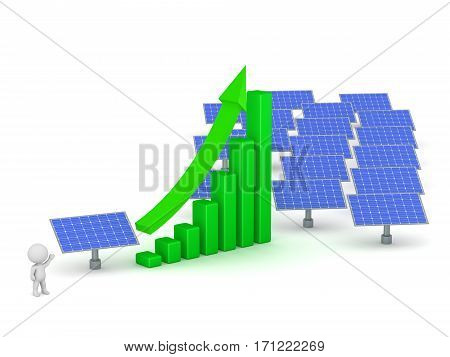 3D character with solar panels and an increase chart. Isolated on white background.