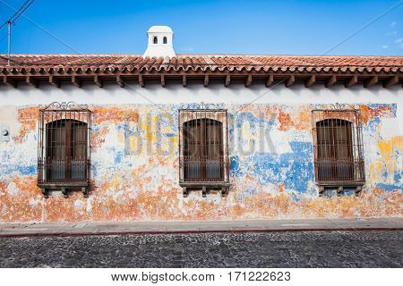 Colonial house in tha street view of Antigua, Guatemala. Central America.