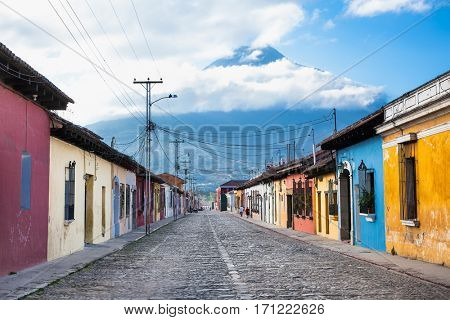 Colonial houses in tha street view of Antigua, Guatemala.  The historic city Antigua is UNESCO World Heritage Site since 1979.