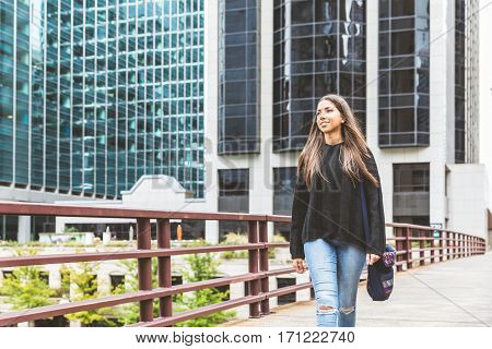 Smiling Girl Walking In Chicago