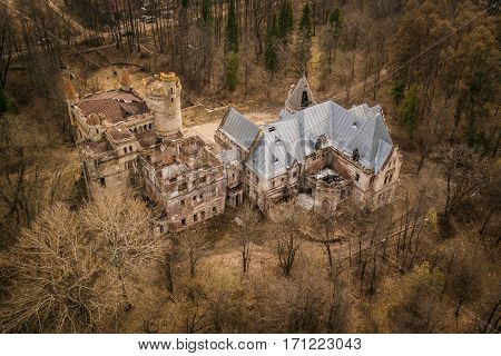 Khrapovitsky Estate and Castle Aerial View in Muromtsevo, Vladimir, Russia